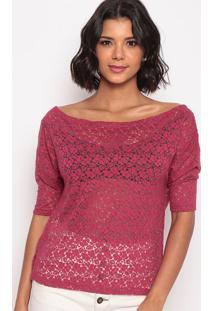 Blusa Devorê Com Transparência- Rosa Escuro- Thiptonthipton