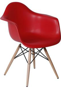 Poltrona Eames- Vermelha & Marrom Claro- 82X62X44Cm