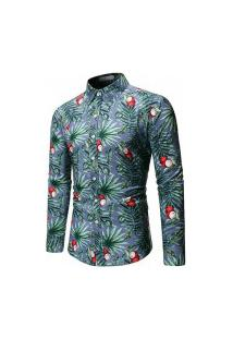 Camisa Masculina Floral Coconut - Azul