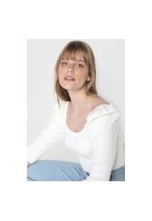 Blusa Tricot Lança Perfume Mangas Bufantes Off-White