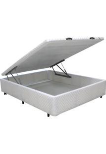 Cama Box Casal Universal Bau Pistão Frontal Branco - 128X188