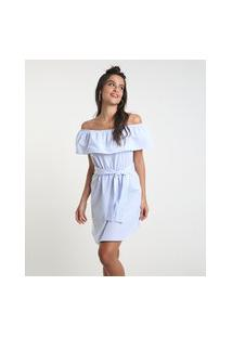 Vestido Feminino Curto Ciganinha Listrado Com Faixa Para Amarrar Manga Curta Azul