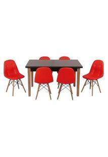 Conjunto Mesa De Jantar Luiza 135Cm Preta Com 6 Cadeiras Botonê - Vermelho