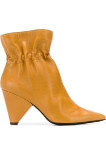 Aldo Castagna Ankle Boot De Couro - Amarelo