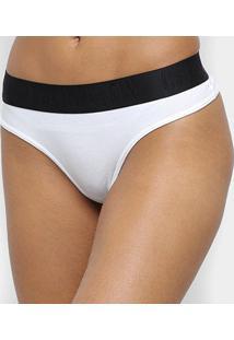 Calcinha Fio Dental Calvin Klein Black Cotton Feminina - Feminino-Branco