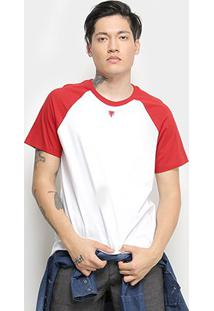 Camiseta Cavalera T Shirt Raglan Colorida Masculina - Masculino-Branco+Vermelho