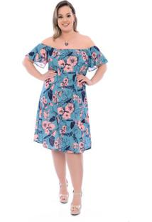 Vestido Jasmim Turquesa Plus Size