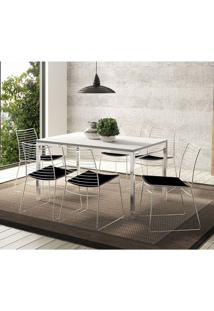 Mesa 1526 Branca Cromada Com 6 Cadeiras 1712 Preta Carraro