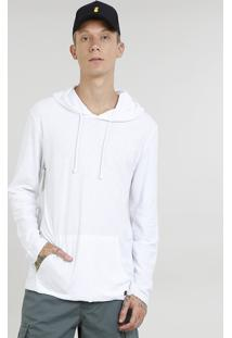 Camiseta Masculina Com Bolso E Capuz Manga Longa Branca