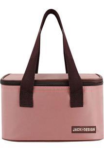 Bolsa Térmica Essencial- Rosa Pastel & Marrom- 13X21Jacki Design