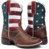 Bota Texana Country Capelli Boots Couro Bandeira Usa Bico Redondo Masculina  - Masculino-Marrom 1e0cfdf3686