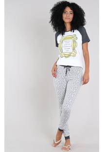 Pijama Feminino Friends Raglan Manga Curta Off White