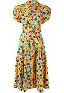 Lhd Vestido Midi Com Estampa Floral - Amarelo