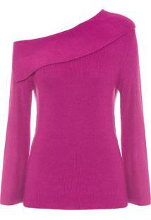 Blusa Feminina Tricot Decote Assimétrico - Rosa