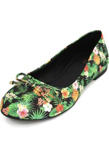 Sapatilha Dali Shoes Cetim Bico Redondo Verde