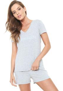 Short-Doll Calvin Klein Underwear Logo Cinza