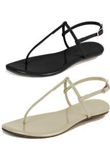 Kit 2 Pares Rasteiras Flat Simples Mercedita Shoes Verniz Preto E Verniz Gelo