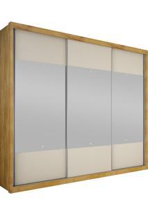 Guarda-Roupa Casal Com Espelho 3 Portas Horizon- Novo Horizonte - Freijo Dourado / Off White