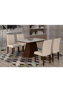 Conjunto De Mesa De Jantar Luna Com 4 Cadeiras Ane Ii Veludo Castor, Branco E Creme