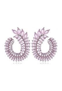 Brinco Prata Arco Navete Espiral Zircônia Rose