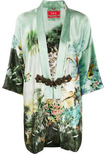 F.R.S For Restless Sleepers Robe Mangas Curtas De Seda Com Estampa - Verde