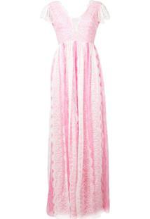 Pinko Vestido De Festa Com Acabamento De Renda - Rosa