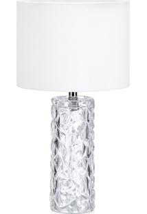 Abajur Amora Premier Iluminação Vidro E Tecido Branco