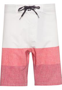 Bermuda D'Água Warm Stripes - Branco E Rosa