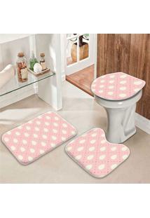 Jogo Tapetes Para Banheiro Ovos De Páscoa Rosa