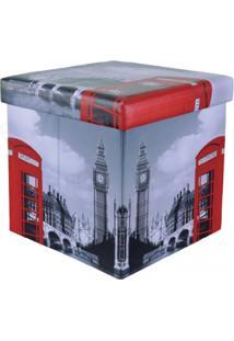 Puff Panosul Desmontável Organizador Box Cinza