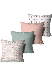 Kit 4 Capas Para Almofadas Decorativas Love Decor Modern Rosa