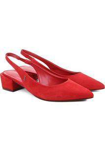 Scarpin Couro Santa Lolla Chanel Salto Bloco Nobuck - Feminino-Vermelho