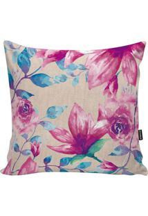 Capa De Almofada Flowers- Rosa & Azul- 45X45Cm- Stm Home