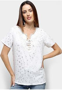 Blusas Efa Rendada Estrela Feminia - Feminino-Branco