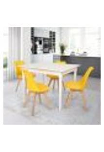 Conjunto Mesa De Jantar Robust 110X90 Branca Com 4 Cadeiras Eames Wood Leda - Amarela