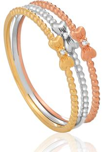 Anel Em Ouro Amarelo, Branco E Vermelho 18K Com Diamante - Hit 16