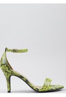 Sandália Feminina Oneself Estampada Animal Print Cobra Salto Alto Verde Neon