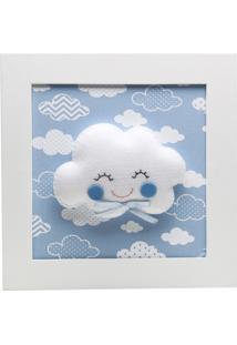 Quadro Decorativo Nuvem Com Carinha Bebê Infantil Potinho De Mel Azul