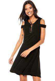 Vestido Facinelli By Mooncity Curto Lace Up Preto