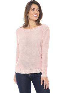 Suéter Polo Wear Tricot Metalizado Rosa/Prata