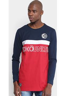 Camiseta Ecko Estampada Manga Longa Masculina - Masculino-Azul Escuro