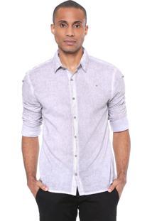Camisa Calvin Klein Jeans Slim Fit Básica Cinza