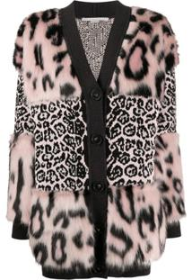 Stella Mccartney Cardigan Com Estampa De Leopardo - Preto