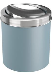 Lixeira Com Tampa Basculante- Inox & Azul Claro- 5,4Coza