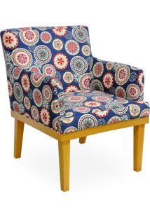 Poltrona Decorativa Para Sala De Estar Beatriz W01 Mandala Azul - Lyam Decor - Azul - Dafiti