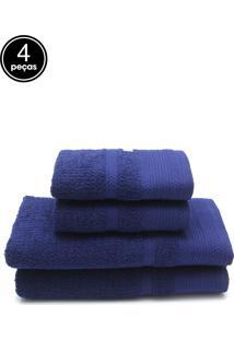 Jogo De Banho 4 Pçs Buddemeyer London Azul 70 X 135 - Tricae