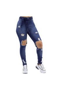 Calça Cigarrete Jeans Destroyed Com Cinto - 4632