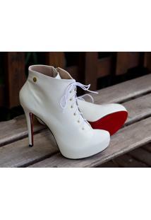 Ankle Boot Dm Extra Branco Dme1774156 Numeração Especial Tamanhos Grandes 41, 42, 43 E 44