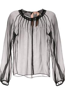 Nº21 Beaded Sheer Blouse - Preto