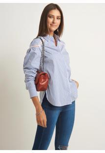 Camisa Le Lis Blanc Cler Listrado Feminina (Listras Azul, 48)